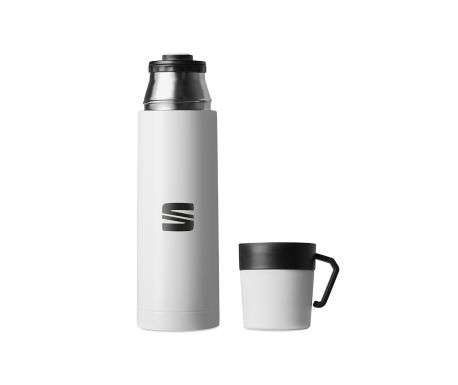 Bouteille Isotherme avec tasse SEAT Blanche